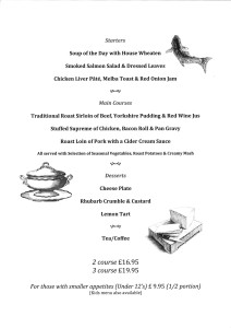sunday roast menu